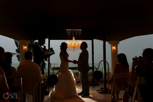 rain wedding ceremony silouhette chandelier Tucan Gazebo, Moon Palace, Cancun, Mexico