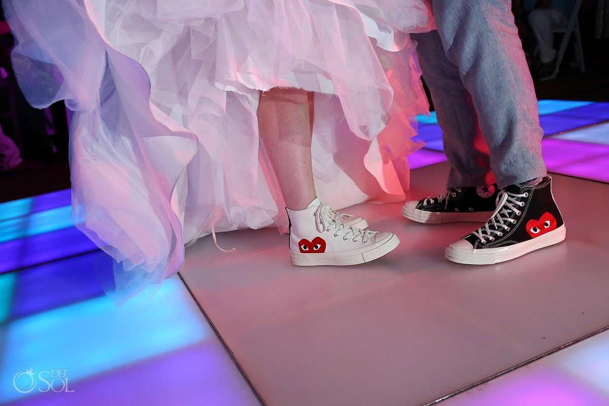 Comme des Garçons PLAY Converse bride groom lit LED dancefloor wedding reception Lakeside terrace, Moon Palace, Cancun, Mexico