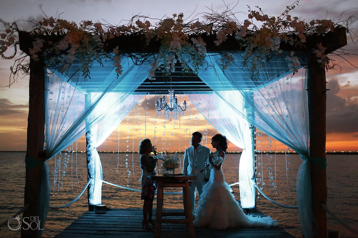 luxury resort destination wedding on the dock at Nizuc hotel Cancun