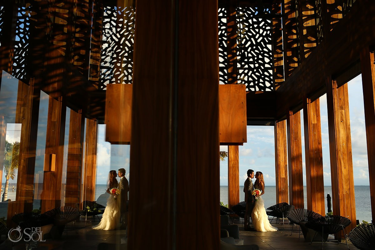 Nizuc wedding portrait lobby architecture sunset architecture