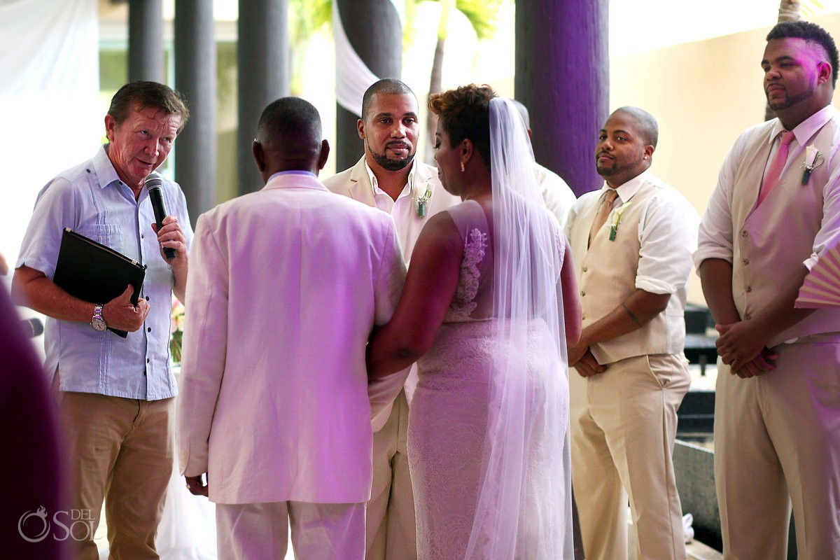 Black African American chocolate firstlook wedding ceremony Now Jade Riviera Maya Mexico