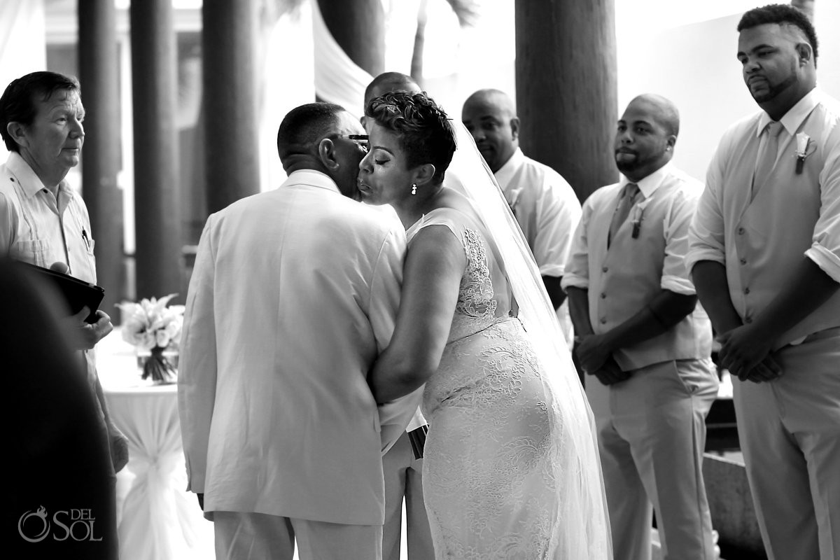 Black African American chocolate firstlook wedding ceremony hug Now Jade Riviera Maya Mexico