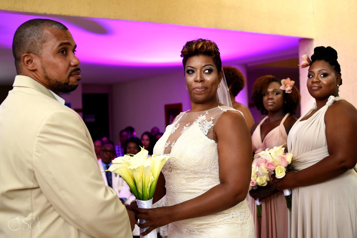 Black African American chocolate wedding ceremony pink light inside rain Now Jade Riviera Maya Mexico
