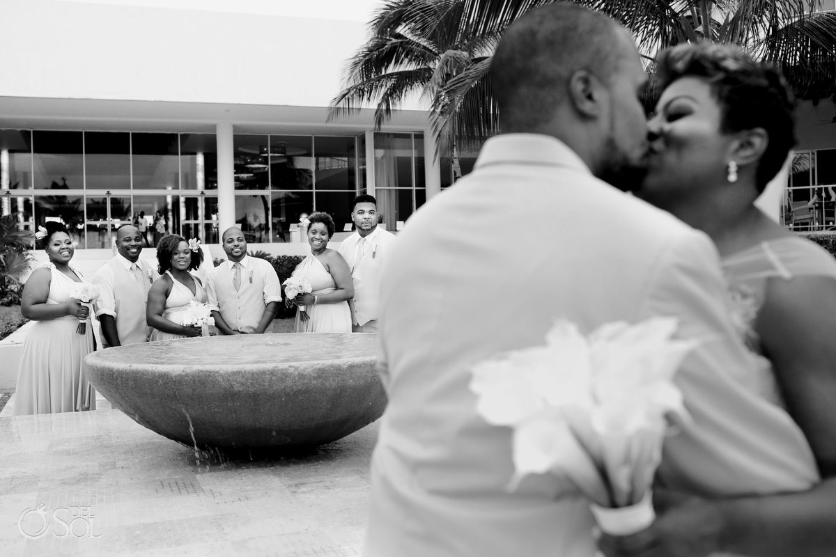 Black African American chocolate wedding party kiss Now Jade Riviera Maya Mexico