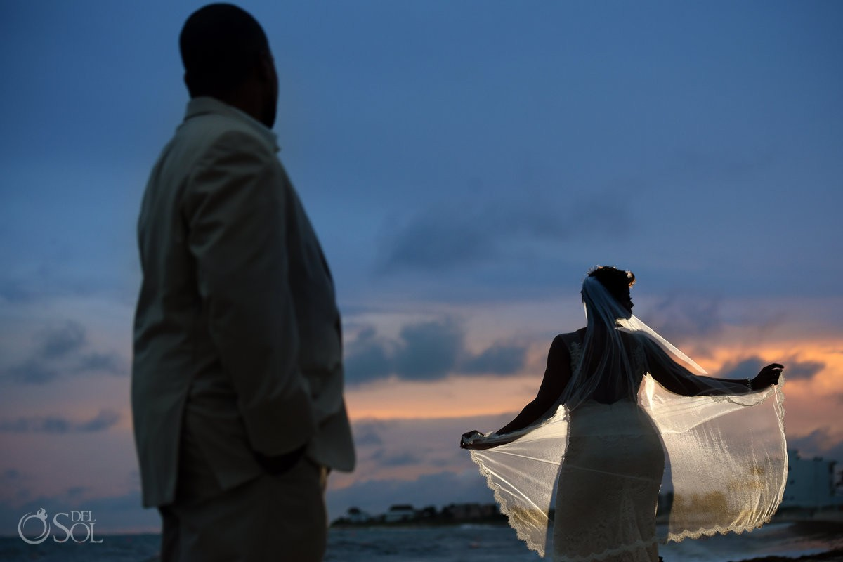 sunset portrait veil silhouette Black African American chocolate wedding Now Jade Riviera Maya Mexico