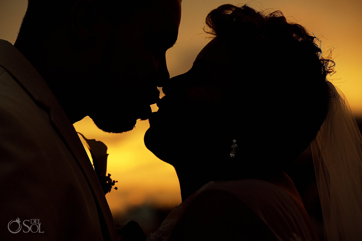 sunset portrait kiss silhouette Black African American chocolate wedding Now Jade Riviera Maya Mexico