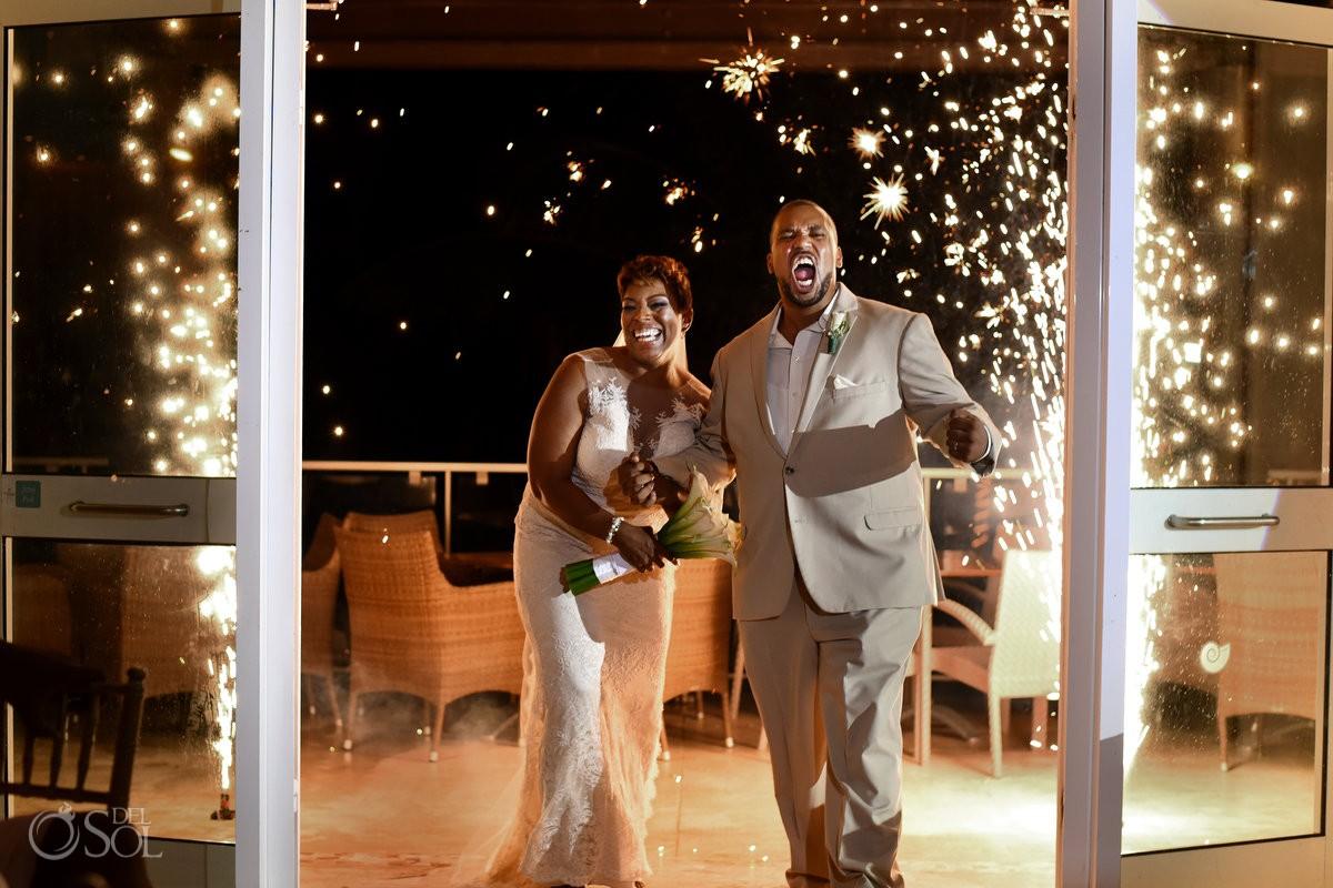 Wedding reception entrance Black African American chocolate Now Jade Riviera Maya Mexico
