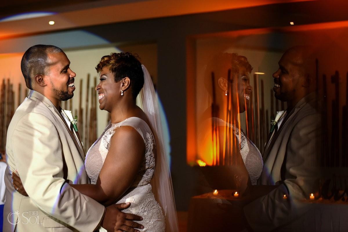 Wedding reception first dance Black African American chocolate Now Jade Riviera Maya Mexico