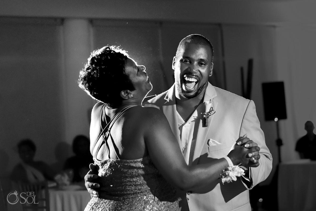 Wedding reception mother son dance Black African American Now Jade Riviera Maya Mexico
