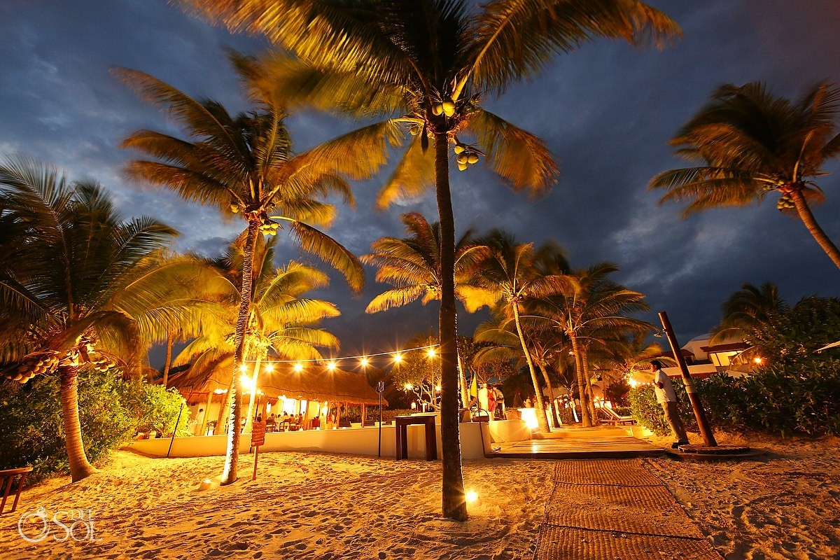 Hotel esencia night beach ambient light