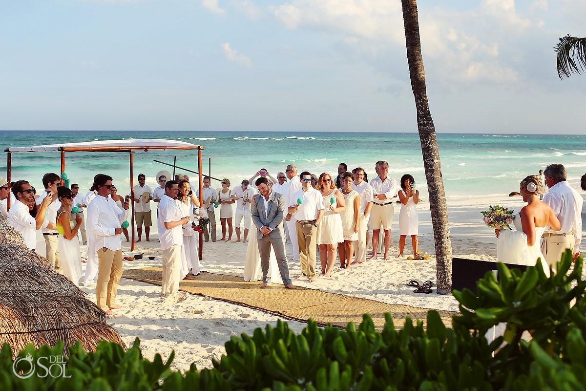 beach wedding ceremony Caribbean blue ocean Hotel Esencia, Riviera Maya