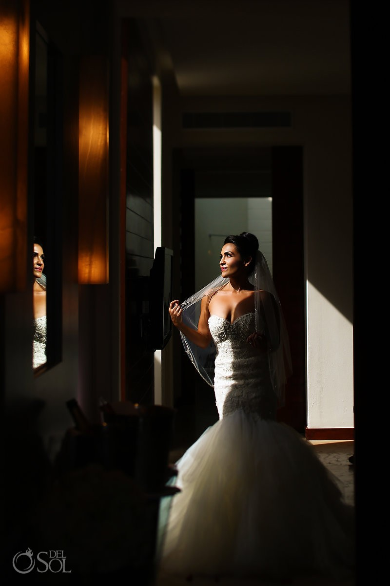 Beautifu Persian bride wedding portrait Rosewood Mayakoba, Playa del Carmen, Mexico