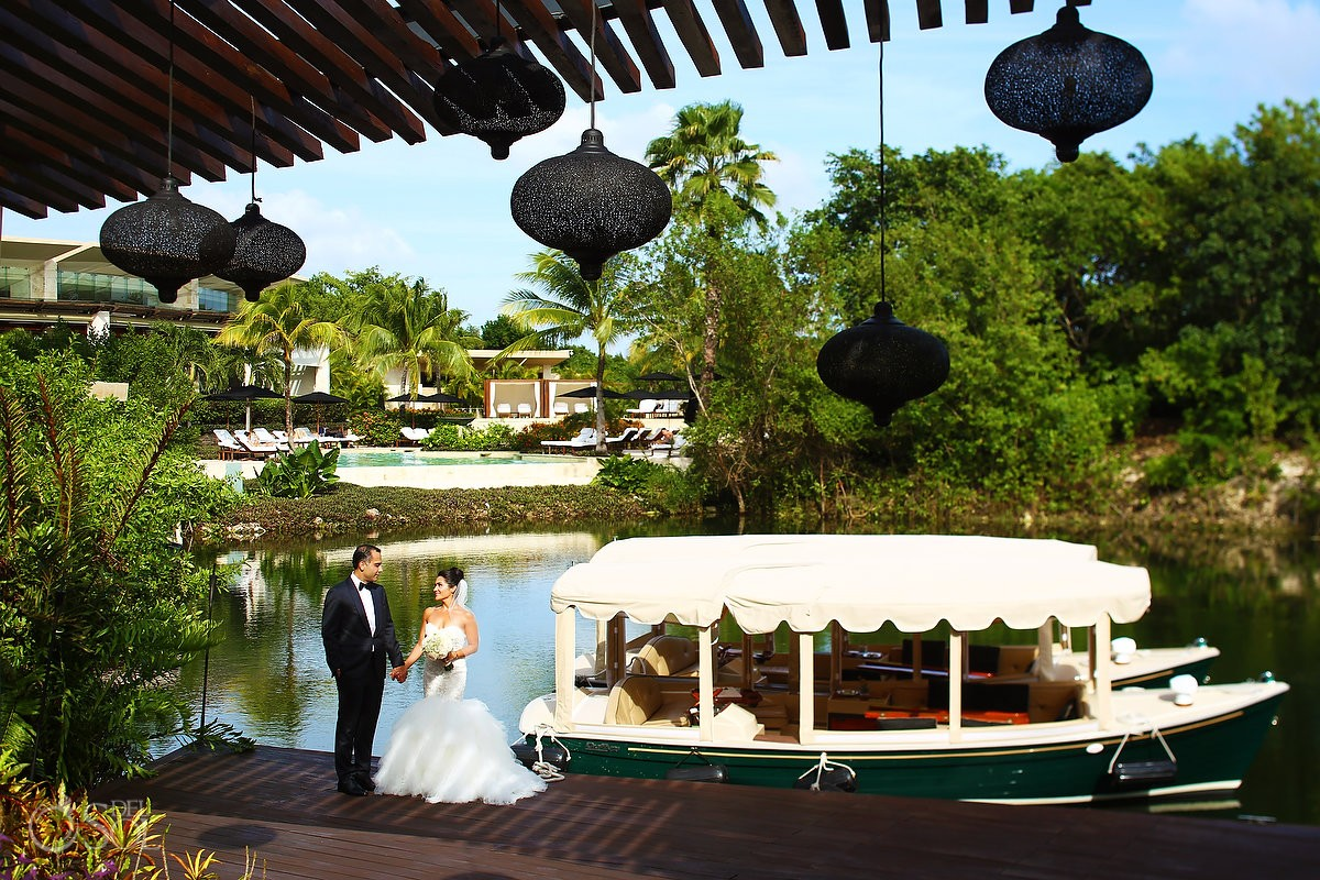 Wedding portrait canal boat Wedding at Rosewood Mayakoba, Playa del Carmen, Mexico