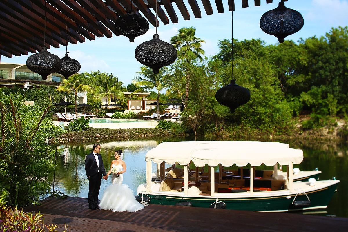 Wedding portrait canal boat Wedding at Rosewood Mayakoba, Playa del Carmen, Mexico