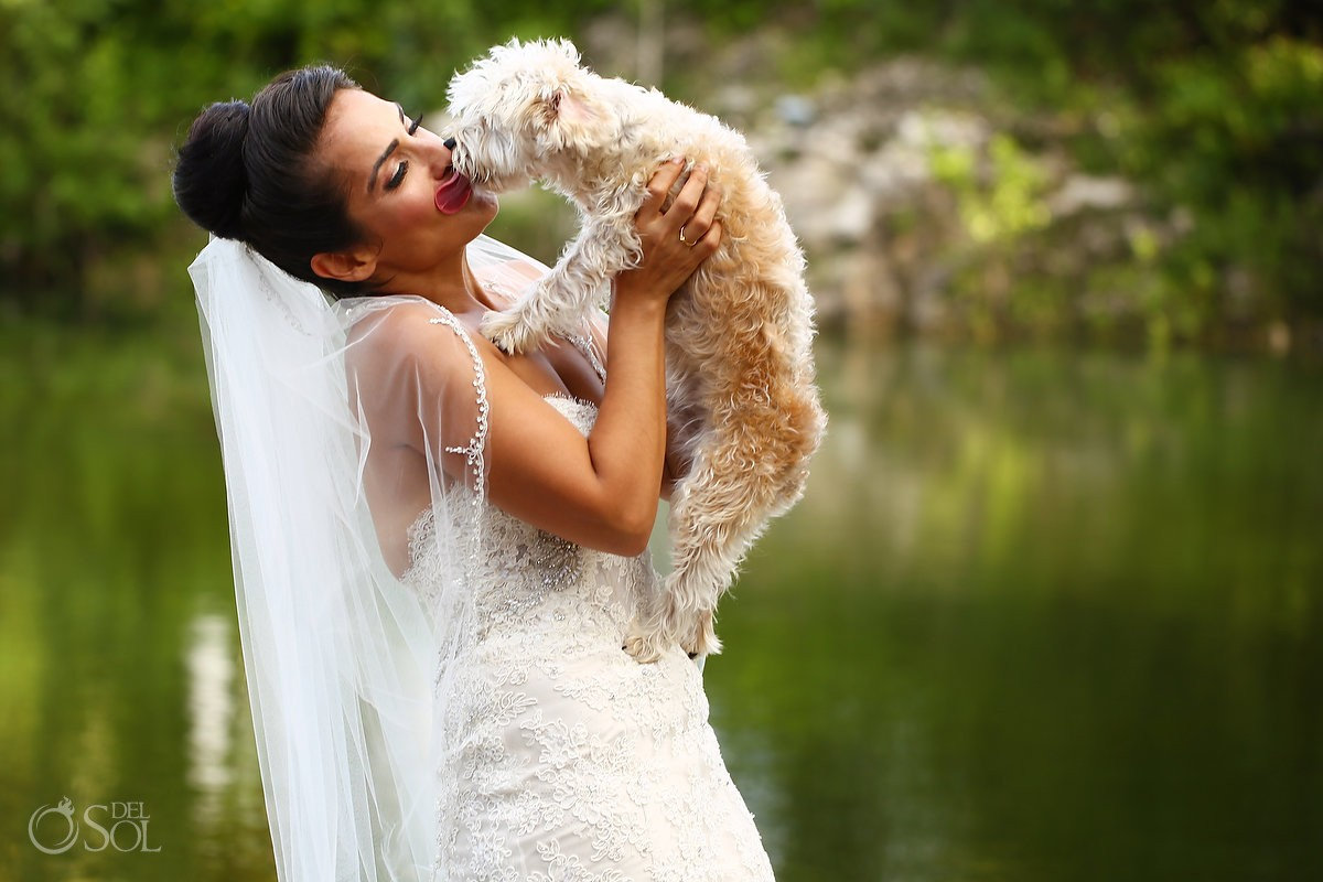 Funny wedding photograph bride dog tongue kiss, Rosewood Mayakoba, Playa del Carmen, Mexico
