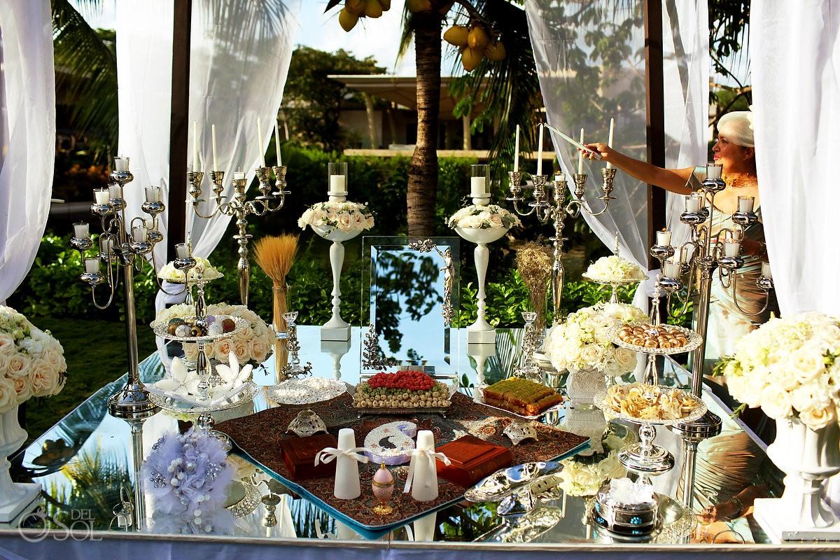 Sofreh Aghd mirror table candelabra, ayné va shamdoon, Persian Wedding Rosewood Mayakoba, Playa del Carmen, Mexico