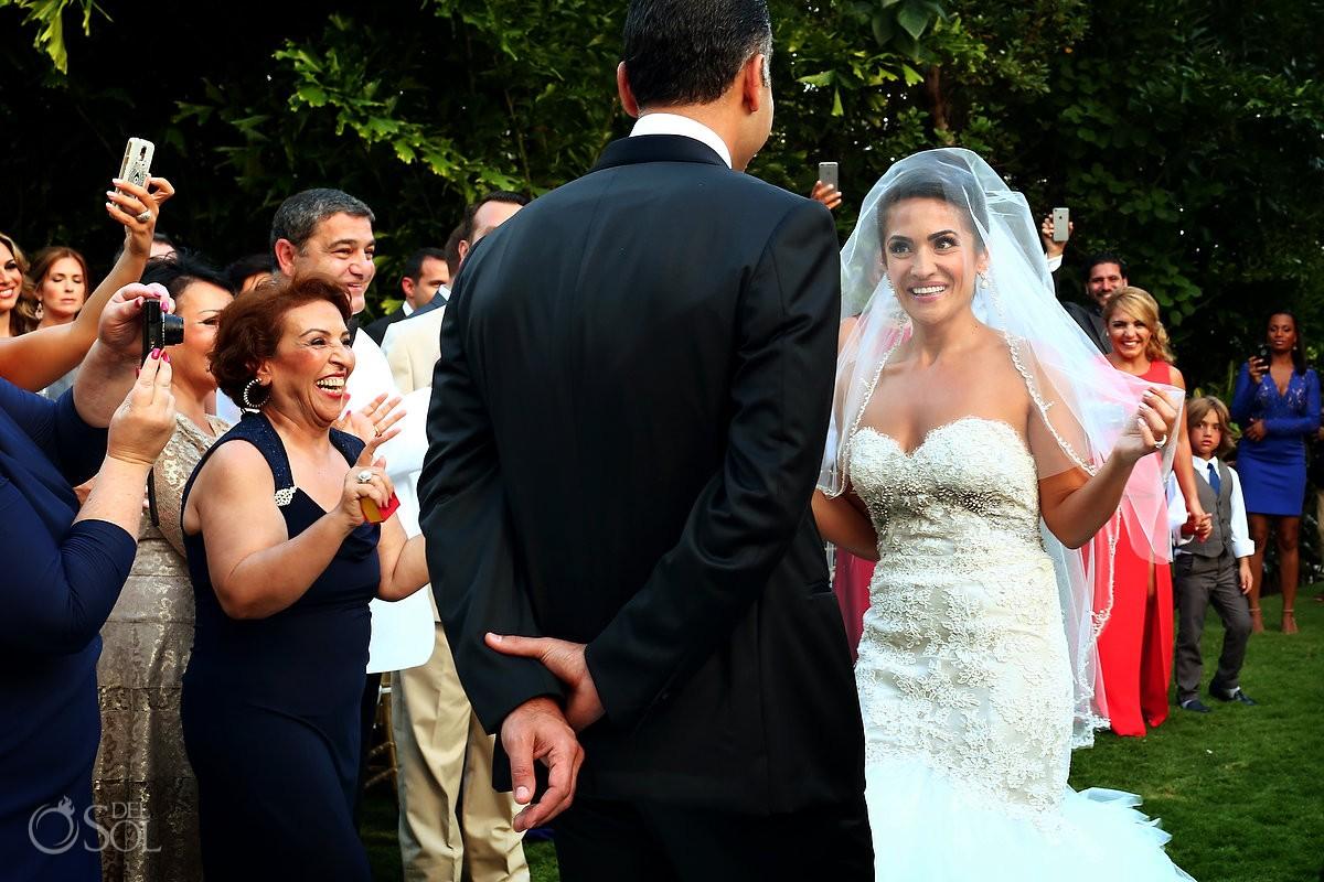 Bride enters aghd Persian Wedding Rosewood Mayakoba, Playa del Carmen, Mexico