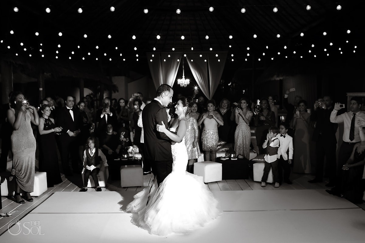 First dance, mehmoonee, Palapa wedding reception, Rosewood Mayakoba, Playa del Carmen, Mexico