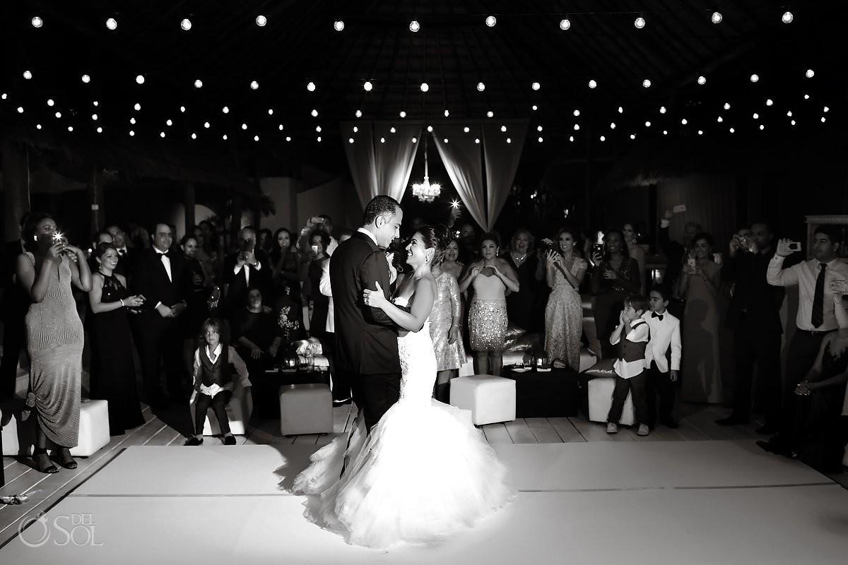First dance, mehmoonee, Palapa wedding reception, Rosewood Mayakoba, Playa del Carmen, Mexico