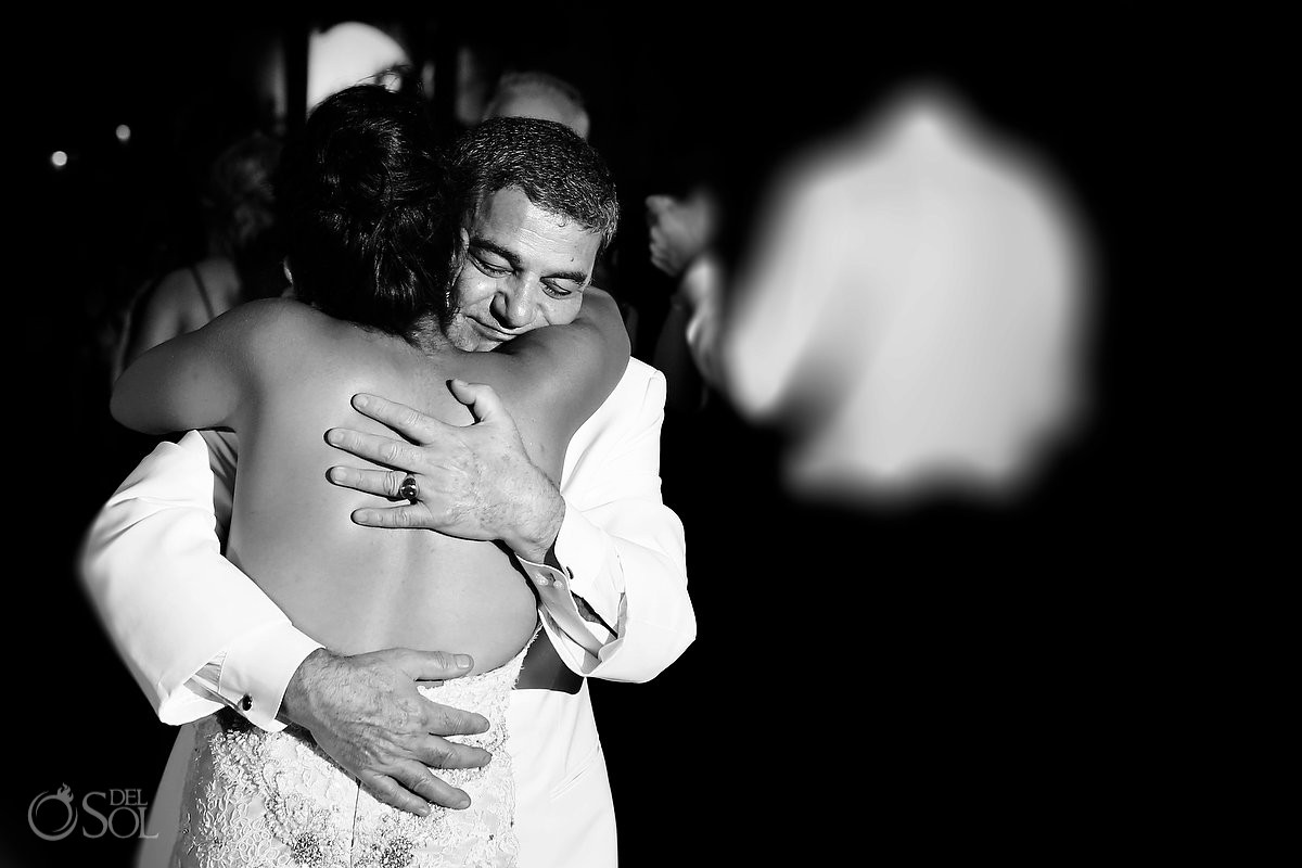 Bride hug, black and white photo, emotional wedding reception, mehmoonee, Rosewood Mayakoba, Playa del Carmen, Mexico