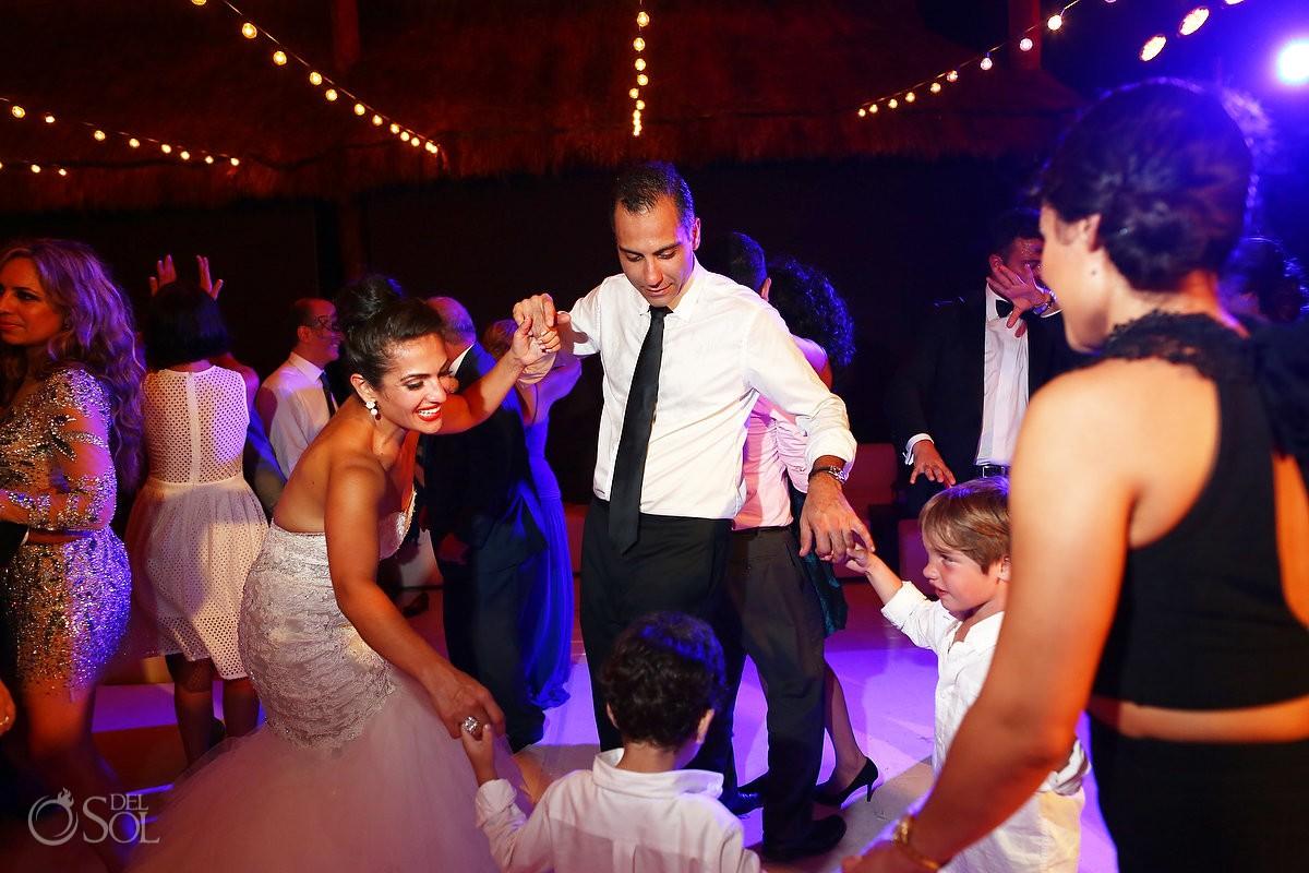 Dancing, Palapa wedding reception, mehmoonee, Rosewood Mayakoba, Playa del Carmen, Mexico