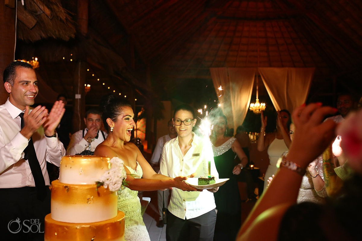 Surprise birthday cake, Palapa wedding reception, mehmoonee, Rosewood Mayakoba, Playa del Carmen, Mexico