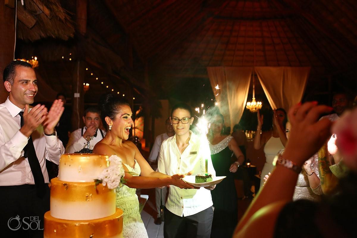 Surprise birthday cake, Palapa wedding reception, mehmoonee, Rosewood Mayakoba, Playa del Carmen, Mexico
