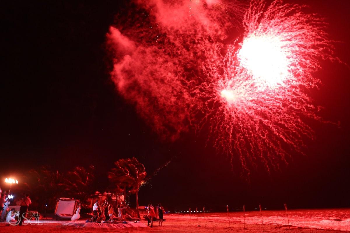 Fireworks beach wedding reception, mehmoonee, Rosewood Mayakoba, Playa del Carmen, Mexico