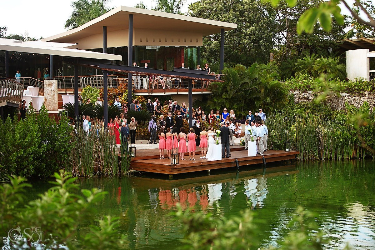 Wedding ceremony canal Rosewood Mayakoba - Plaza Dock