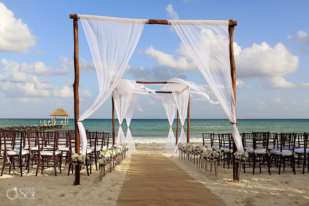 beach wedding ceremony set up gazebo chuppah Viceroy Riviera Maya