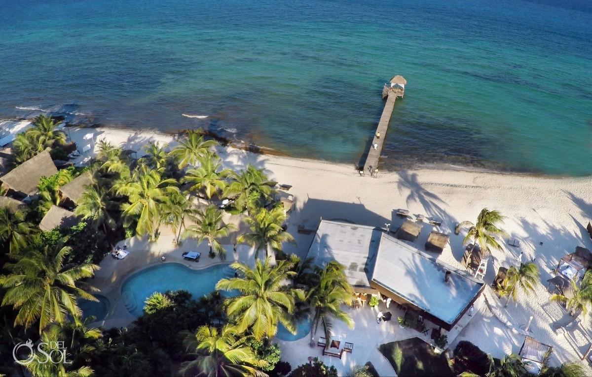 Caribbean beach pier Viceroy Riviera Maya areal drone photography
