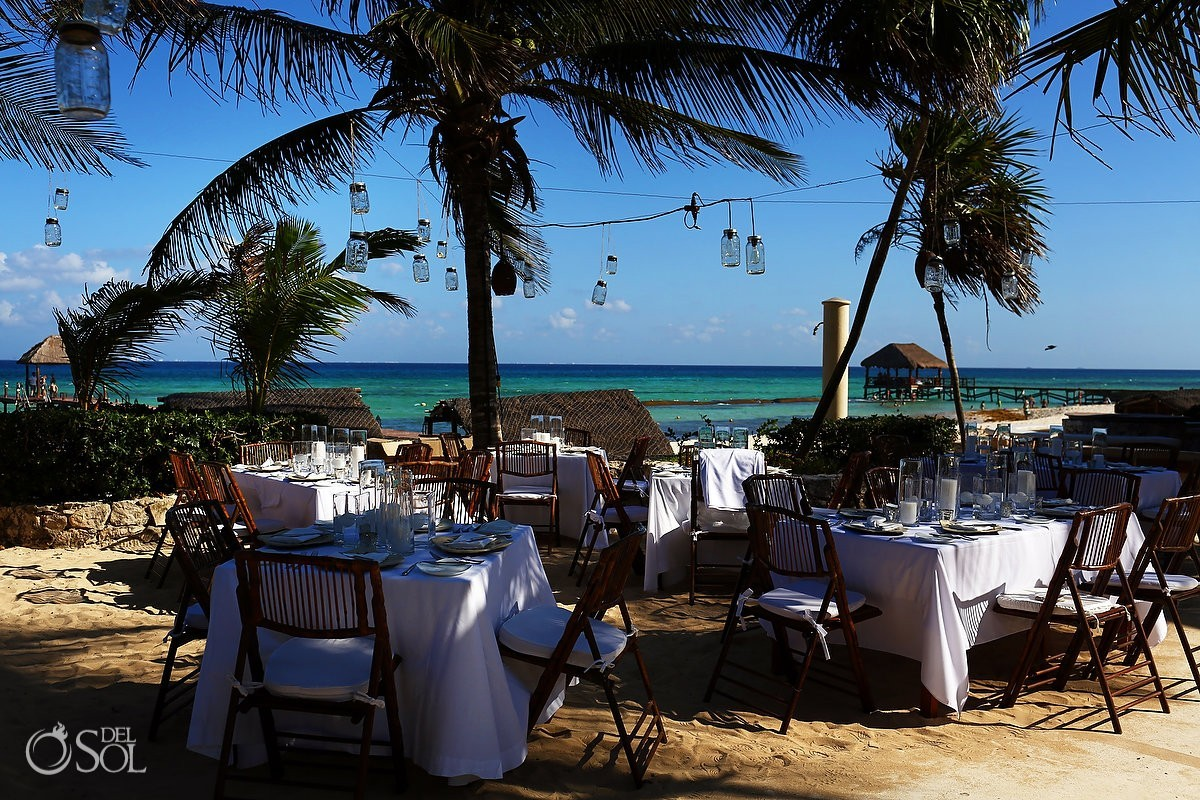 Table set ups fwedding reception beach Viceroy Riviera Maya