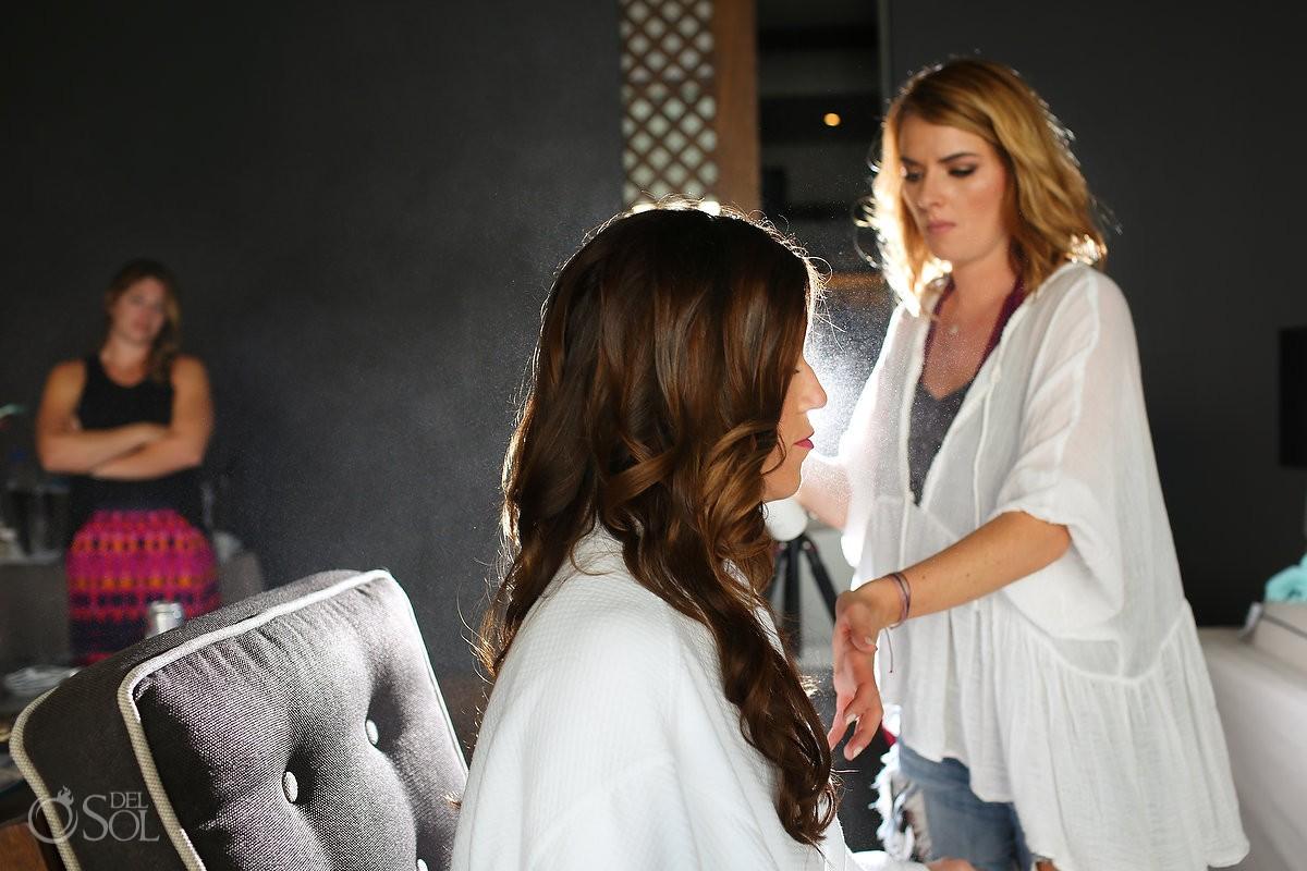 Bride hairspray backlight artistic getting ready Nizuc resort Cancun mexico