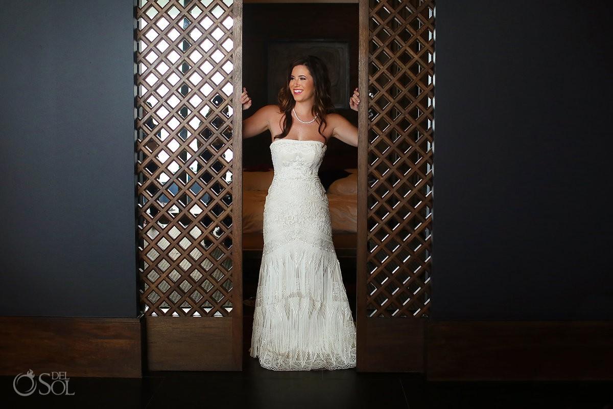 Bridal portrait getting ready Yolan Cris dress Nizuc resort Cancun mexico