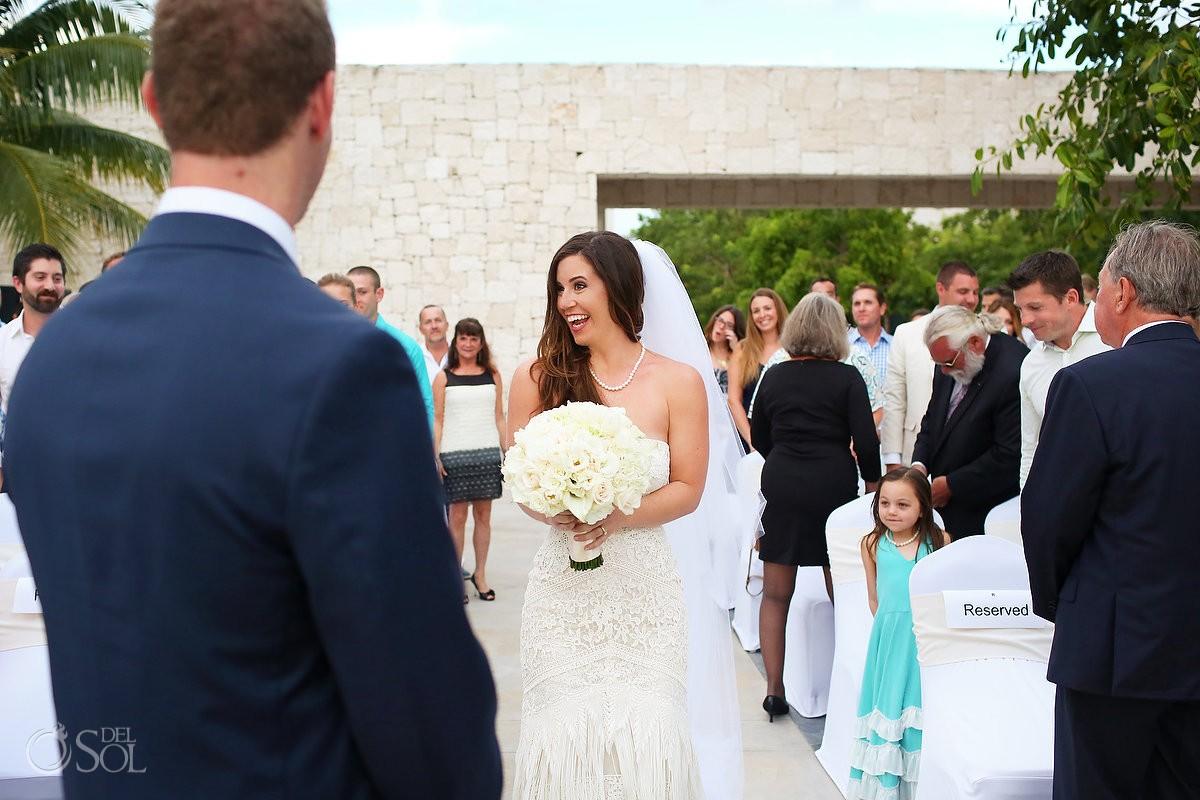 Bride smile enters wedding ceremony Akan Terrace Nizuc resort Cancun mexico