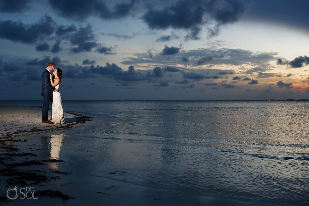 Sunset Beach Wedding portraits, Nizuc Resort Cancun, Mexico