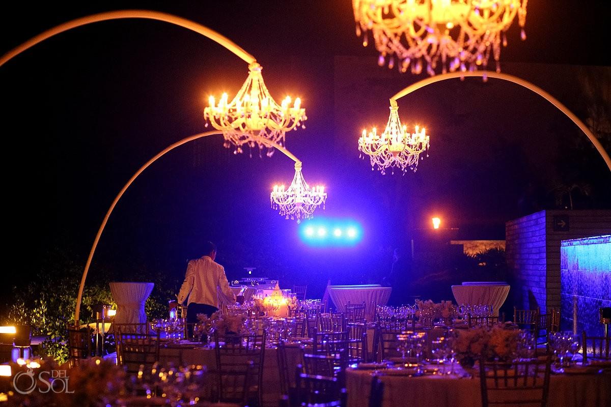 Wedding reception set up, Nizuc Resort Cancun, Terra Nostra Deck, chandeliers