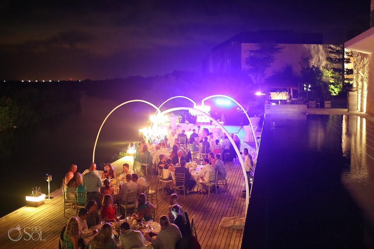 Wedding reception, Nizuc Resort Cancun, Terra Nostra Deck, night time illumination
