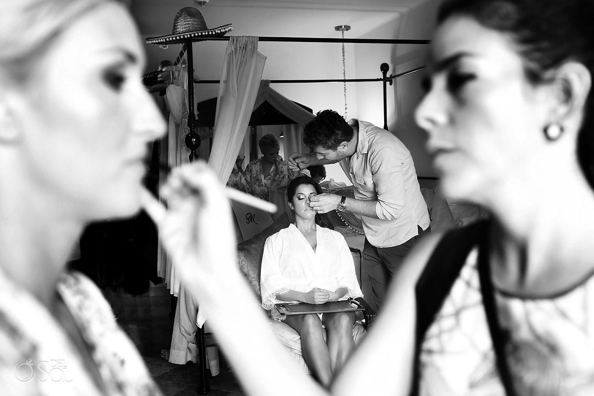 Bride getting ready black white Secrets Maroma, Riviera Maya, Mexico