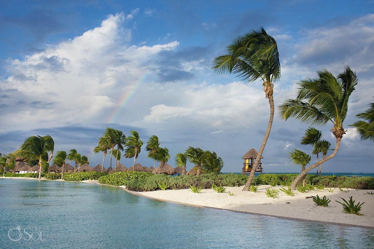 Rainbow over beach, Secrets Maroma, Riviera Maya, Mexico