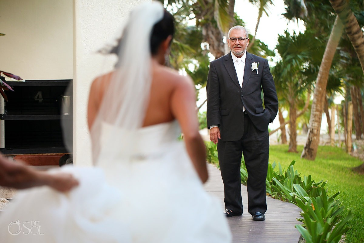 bride father first look Secrets Maroma beach wedding, Riviera Maya, Mexico