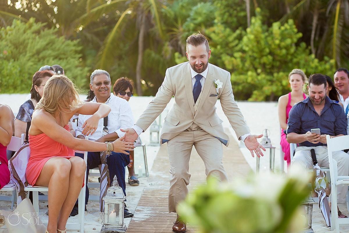groom enters beach ceremony high five Secrets Maroma, Riviera Maya, Mexico