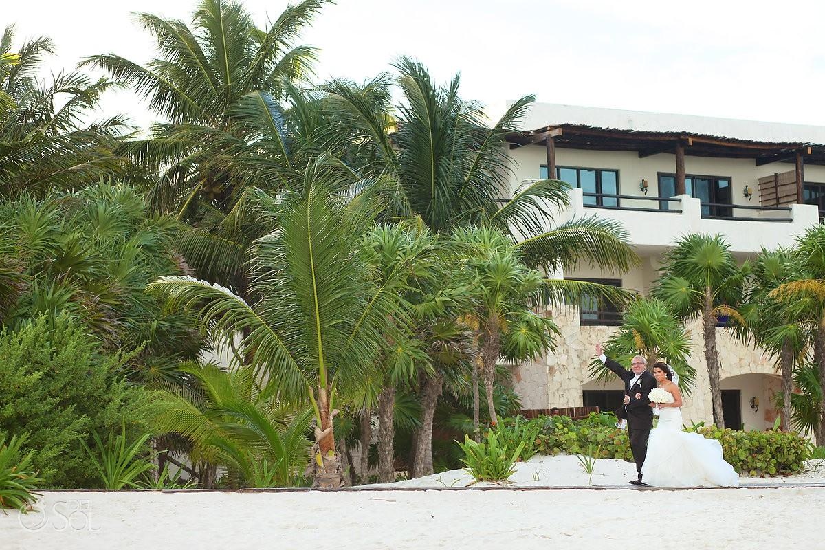 bride enters beach wedding ceremony Secrets Maroma, Riviera Maya, Mexico