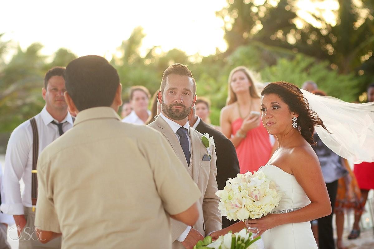 Golden hour beach wedding ceremony Secrets Maroma, Riviera Maya, Mexico
