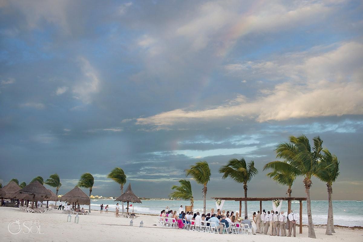 Rainbow beach wedding ceremony Secrets Maroma, Riviera Maya, Mexico