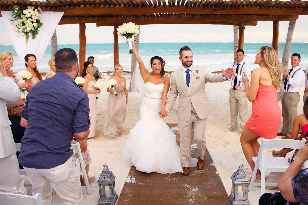 beach wedding ceremony exit Secrets Maroma, Riviera Maya, Mexico