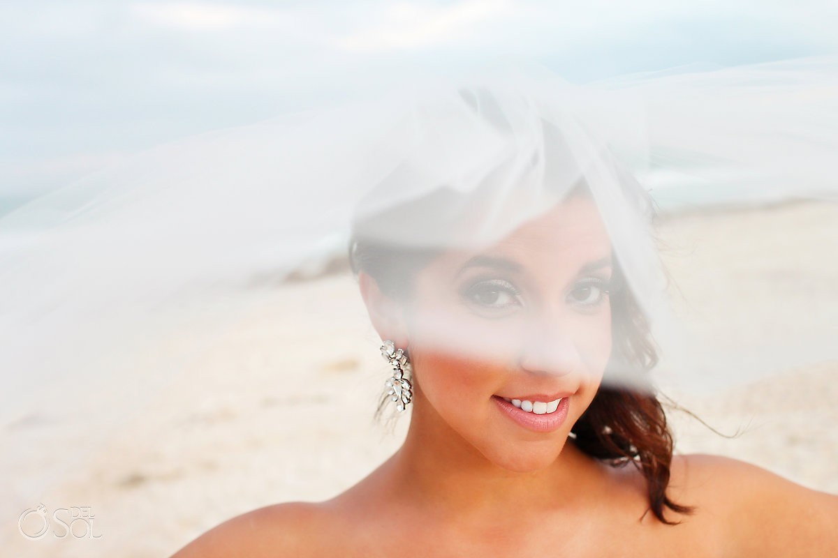 creative bride veil portrait Secrets Maroma, Riviera Maya, Mexico