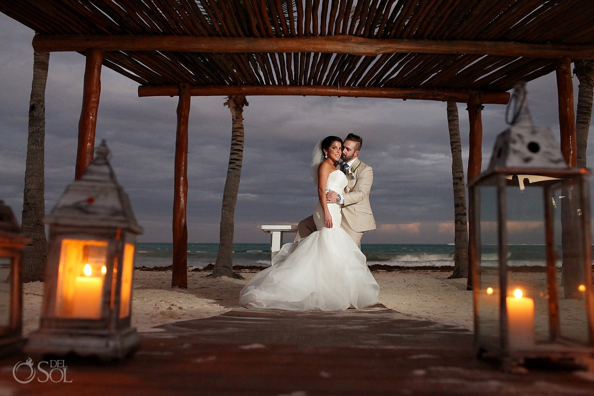 bride and groom beach wedding portrait Secrets Maroma, Riviera Maya, Mexico