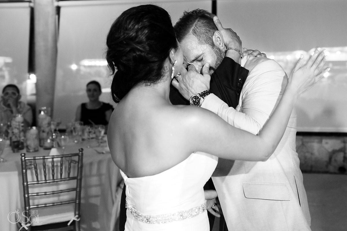 emotional groom crying, black white, wedding reception Secrets Maroma, Riviera Maya, Mexico