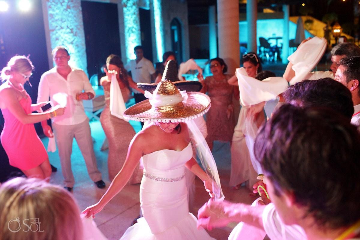 Wedding reception second lining sombreros Secrets Maroma, Riviera Maya, Mexico